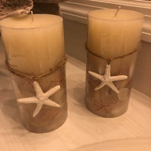 2 candles. Ocean themed.